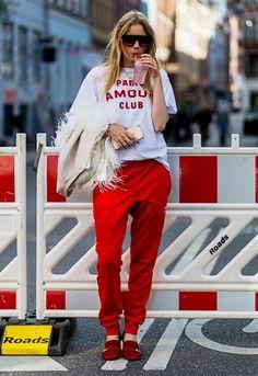 Pernille Rosenkilde at Copenhagen Fashion Week wearing adidas tracksuit with…
