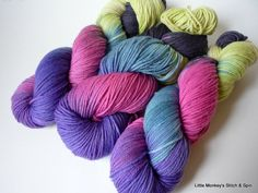 "Hand dyed Yarn, Melody DK, Superwash Merino, ""Dreamer"", two available. $21.00, via Etsy."