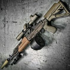 The Smith Enterprise Crazyhorse The Smith Enterprise Crazyhorse M1A with EBR Chassis, X14 drum, MK 4 LR/T Rifle scope & SOCOM can, and Atlas bipod. M1A with EBR Chassis, X14 drum, MK 4 LR/T Rifle scope & SOCOM can, and Atlas bipod.