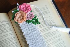 Crochet Floral Bookmark Handmade Long Tassel White by Draiguna