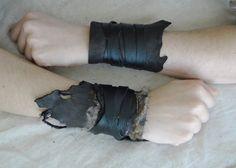 Set Leather Cuffs - Viking Barbarian Tribal Fur Costume Cosplay - Pair #CS40