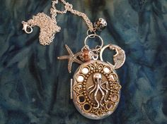 Womens Large Steampunk Octopus Locket Necklace Silver Charms Pearl Turquoise.