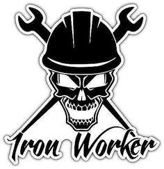 "Iron Worker Crossbones Helmet Car Bumper Vinyl Sticker Decal 4""X5"""