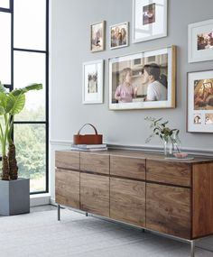 Modern media storage made to beautifully hide your tv components and add organization to your living space. Living Room Colors, Living Room Decor, Living Spaces, A Frame Cabin, A Frame House, Tv Emoldurada, Picture Frame Tv, Interior And Exterior, Interior Design