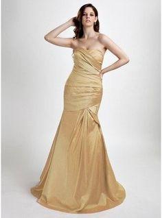 Trumpet Mermaid Sweetheart Sweep Train Taffeta Prom Dress With Ruffle 018015831 g15831
