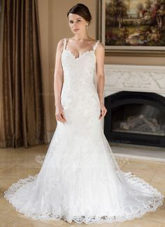 Trumpet/Mermaid Sweetheart Chapel Train Tulle Wedding Dress With Beading Appliques Lace (002000379)