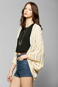 Pins And Needles Crochet Open-Front Cardigan