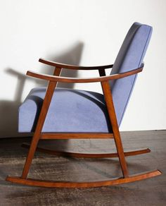 T.H. Robsjohn-Gibbings (English-American): Birch Rocking Chair in Velvet (circa 1950)