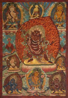 Tibetan Buddhist Thangka of Vajrapani (Dharma protector).