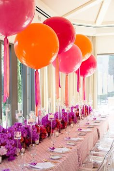 Image result for balloons on tables at alternating heights