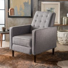 Mid-Century Modern Recliner — Pier 1 Grey Recliner, Modern Recliner, Recliners, Leather Recliner, Club Chairs, Room Chairs, Office Chairs, Retro Stil, Living Room Remodel