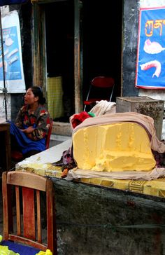 Yak butter for sale on Barkhor Street, Tibet by Danielle Caceres-Bricheno.