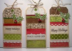 Use business cards or a deck of cards, cut the top corners, punch a hole, tie a string....adorable!