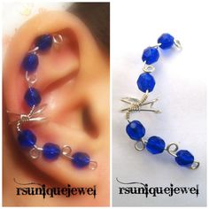 Sterling Silver Versatile Blue Ear Cuff Cartilage by rsuniquejewel