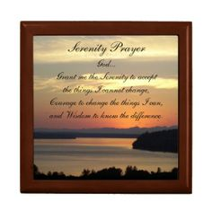 Serenity Prayer Seascape Sunset Tiled Trinket Box #prayers #faith #sunsets #spirituality #verse #inspirational