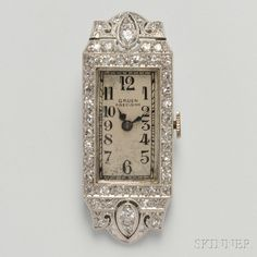 Art Deco Lady's Platinum and Diamond Wristwatch, Gruen, the ivory-tone dial with Arabic numeral indicators, manual-wind 17-jewel movement, the case set with transitional- and old single-cut diamonds, millegrain accents, 37 mm, signed. (hva)
