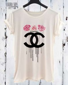 Pop art fashion t-shirt with print flowers, White cotton tees by Eugoria shop