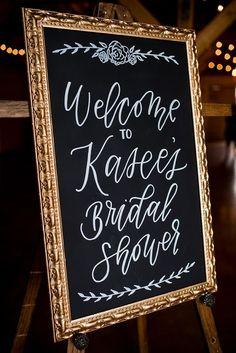 Chalkboard bridal shower welcome sign. A Rustic Barn Bridal Shower in Oklahoma Ultimate Bridesmaid Alex Dugan Photography Wedding Shower Signs, Bridal Shower Welcome Sign, Bridal Shower Signs, Bridal Shower Party, Bridal Shower Rustic, Wedding Signs, Wedding Favors, Wedding Showers, Wedding Ideas