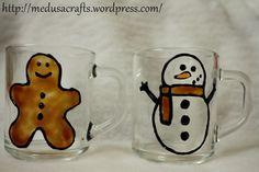Gingerbread & Snowman mugs Snowman Mugs, Medusa, Gingerbread, Tableware, Crafts, Jellyfish, Dinnerware, Dishes, Crafting
