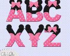 ALFABETO letras - Letras de Digital de ratón rosa, ratón Alphas del ratón, de color rosa Minnie Mouse Alphas, 8.5x11,-descarga inmediata