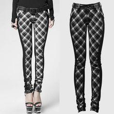 Women Gray Grey Black Plaid Slim Fit Steam Punk Pants Leggings Trousers