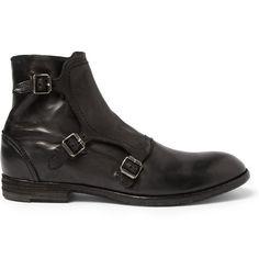 Alexander McQueenTriple Monk-Strap Washed-Leather Boots MR PORTER ($795.00) - Svpply
