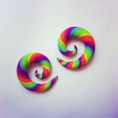 """Mini Tropical Rainbow Gauged Earrings - 0g, 00g, 7/16"""", 1/2"""" - Polymer Clay"""