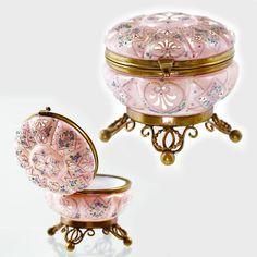 Antique Bohemian Moser Enameled Art Glass Hinged Jewelry Trinket Box Jar Ormolu   eBay