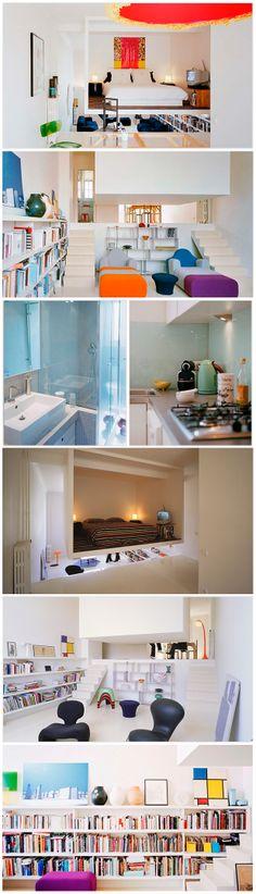 Decoração moderna em apartamento de 50m². Decoração de pequenos apartamentos. Quarto suspenso. Arquitetura moderna. Projeto de arquitetura e...