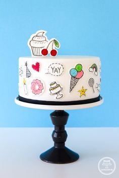 Partytorte - Torte mit lustigen Partymotiven und passender Anleitung