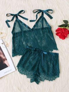 Romwe Tie Shoulder Eyelash Lace Cami & Shorts Pj SetL