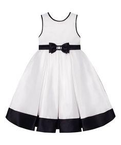 Look at this #zulilyfind! Ivory & Black Pleated A-Line Dress - Toddler & Girls #zulilyfinds