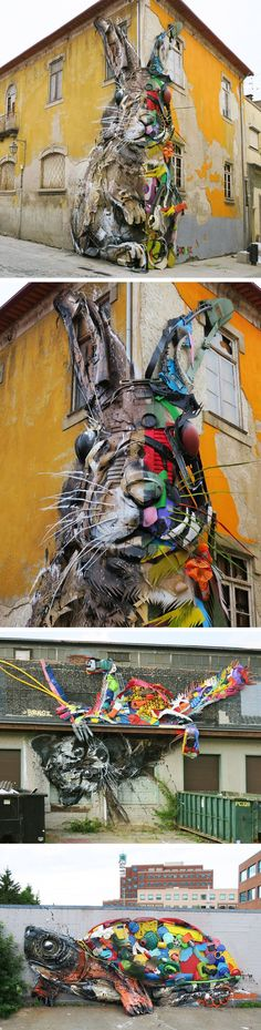 New Split View Trash Sculptures by Bordalo II Combine Wood and Colorful Plastics Into Gigantic Animals #streetart