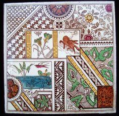 Excellent Brown Transferware Tile ~ Crazy Quilt 1885