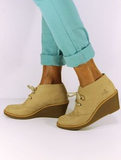 #Vegan  Non-Leather Womens Lace-up Wedge Chukka Shoes from Wills London