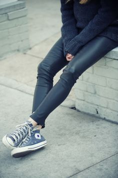 Causal outfit - leather pants + oversized sweater, converse. more fashion, beauty and lifestyle over at www.breakfastwithaudrey.com.au