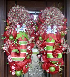 Whimsical Christmas SWAG WREATHS with STOCKINGS by decoglitz