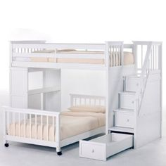 Amazon.com: NE Kids Schoolhouse Stairway Loft Bed - White: Furniture & Decor