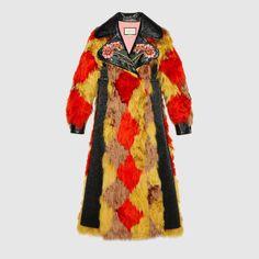 bc8a1ebfaea Manteau en alpaga avec intarsia losanges Gucci Fur Coat