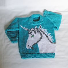 Kids Unicorn Sweater Size Childs Blue Pullover Sweater, Mint Blue Handknitted Unicorn, READY to Jumper Knitting Pattern, Baby Knitting, Mint Blue, Sweater Making, Pullover Sweaters, Free Pattern, Silhouette, Etsy, Couture