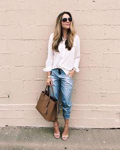 """So soft & easy to wear for work or play."" - @theteacherdiva in the lucy indiGO jogger | Wear it like denim. Love it like activewear | #lucyindiGO"