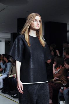 Alice Gibberd heat-pressed polyurethane yarn knit and mohair skirt