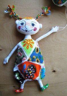 Reminds me of Pippi Longstocking. Ugly Dolls, Cute Dolls, Doll Crafts, Diy Doll, Plush Dolls, Doll Toys, Rag Dolls, Softies, Sewing Toys