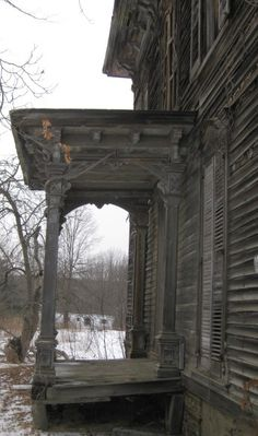 BEFORE - Salvaged front porch columns from home in Pavilion, NY