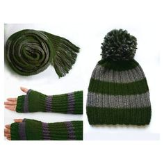 Items similar to Harry Potter Slytherin green and grey knitted scarf,... ❤ liked on Polyvore