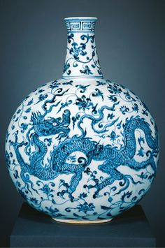 Flask China, Jiangxi Province; Ming period (1368-1644), early 15th century (probably Yongle era, 1403 - 1424) Porcelain painted with underglaze cobalt blue (Jingdezhen ware)