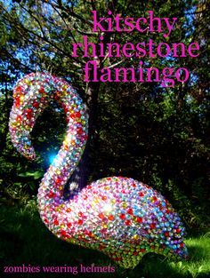 kitschy rhinestone flamingo I need a dozen of these. Just need the flamingos since I have a huge bin of gems and