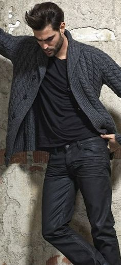 Men's Charcoal Shawl Cardigan, Black V-neck T-shirt, Black Jeans, Black Leather…