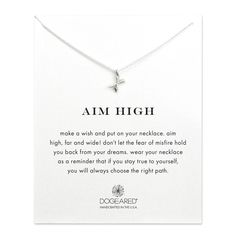 aim high crossing arrows necklace, sterling silver