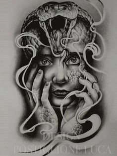 Realistic Medusa Tattoo On Side Rib Medusa Tattoo, Snake Tattoo, Girl Face Tattoo, Girl Tattoos, Tattoo Sleeve Designs, Sleeve Tattoos, Tattoo Sketches, Tattoo Drawings, Kobra Tattoo